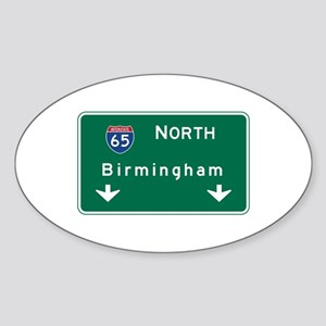 Birmingham, AL Road Sign, USA Sticker (Oval)