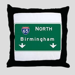 Birmingham, AL Road Sign, USA Throw Pillow