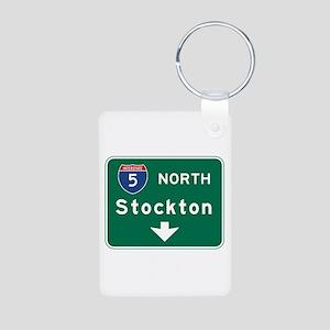 Stockton, CA Road Sign, US Aluminum Photo Keychain