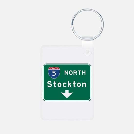 Stockton, CA Road Sign, US Keychains