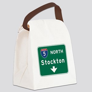 Stockton, CA Road Sign, USA Canvas Lunch Bag