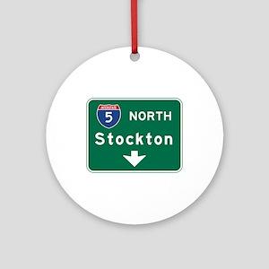 Stockton, CA Road Sign, USA Round Ornament