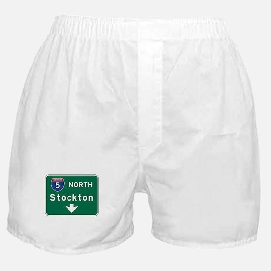 Stockton, CA Road Sign, USA Boxer Shorts