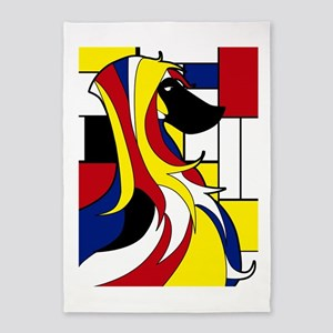 Geometric Afghan Hound Abstract 5'x7'Area Rug