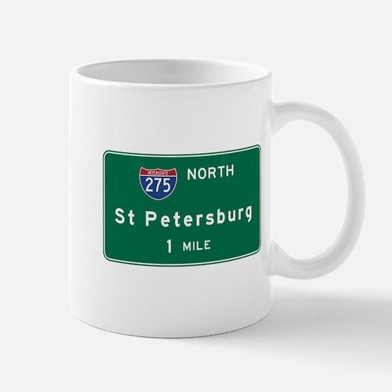 St Petersburg, FL Road Sign, USA Mug