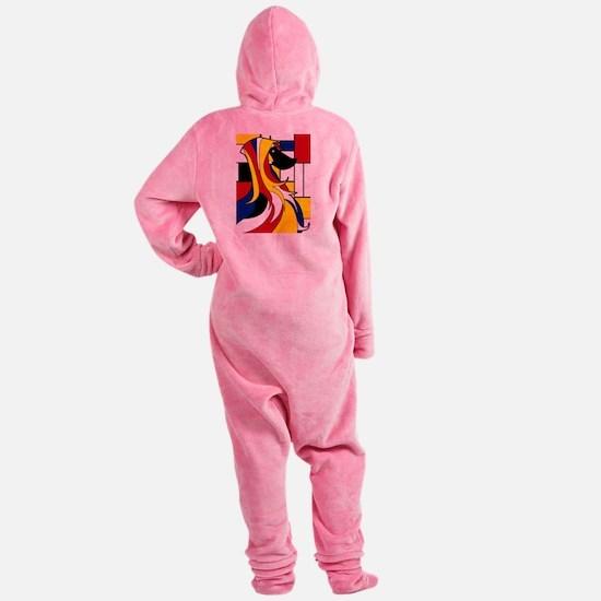 Geometric Afghan Hound Abstract Footed Pajamas