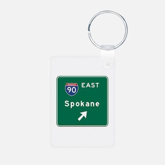 Spokane, WA Road Sign, USA Keychains