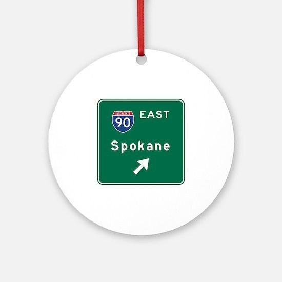 Spokane, WA Road Sign, USA Round Ornament