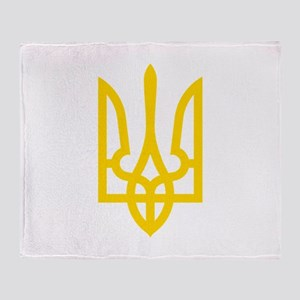 Tryzub (Yellow) Throw Blanket