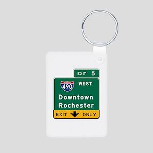 Rochester, NY Road Sign, U Aluminum Photo Keychain