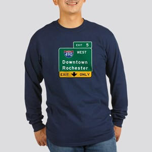 Rochester, NY Road Sign, Long Sleeve Dark T-Shirt