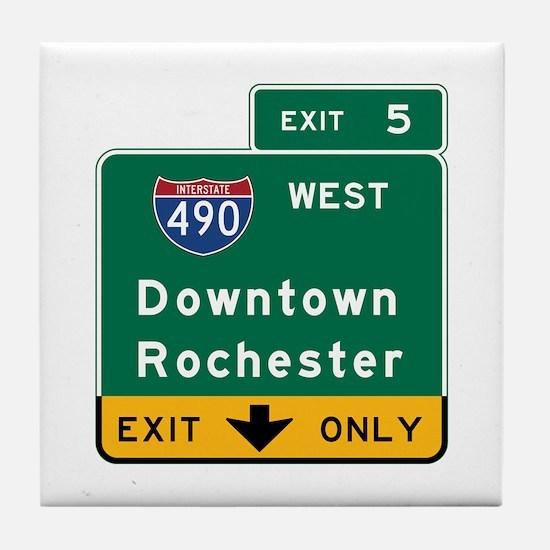 Rochester, NY Road Sign, USA Tile Coaster