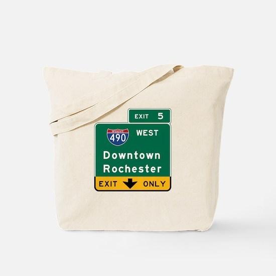 Rochester, NY Road Sign, USA Tote Bag