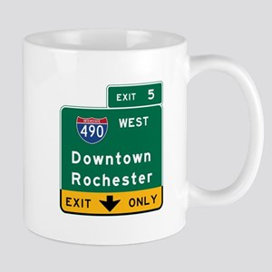 Rochester, NY Road Sign, USA Mug