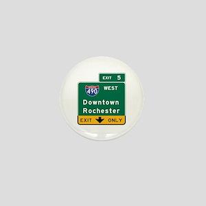 Rochester, NY Road Sign, USA Mini Button