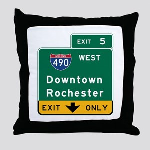 Rochester, NY Road Sign, USA Throw Pillow