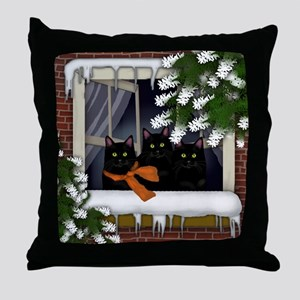 BLACK CATS WINTER WINDOW Throw Pillow