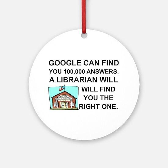 Cute Librarians Round Ornament
