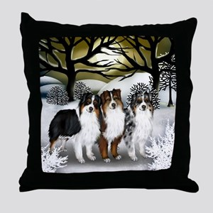 AUSTRALIAN SHEPHERD DOGS WINTER SUN Throw Pillow