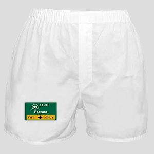Fresno, CA Road Sign, USA Boxer Shorts