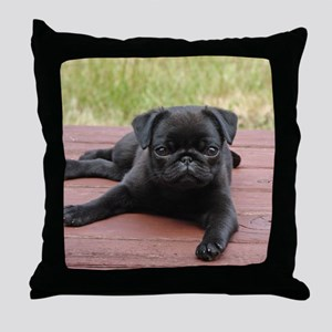ALERT PUG PUPPY Throw Pillow