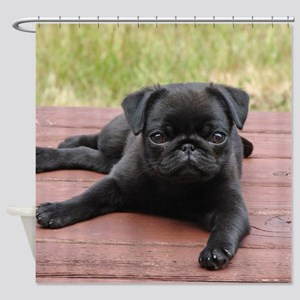 ALERT PUG PUPPY Shower Curtain