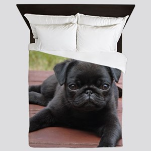 ALERT PUG PUPPY Queen Duvet