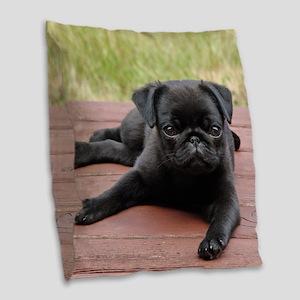 ALERT PUG PUPPY Burlap Throw Pillow