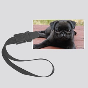 ALERT PUG PUPPY Large Luggage Tag