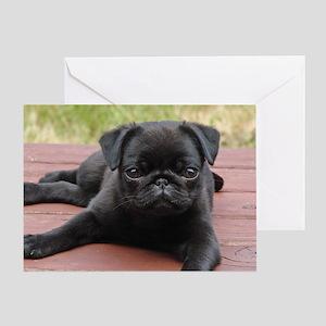 ALERT PUG PUPPY Greeting Card
