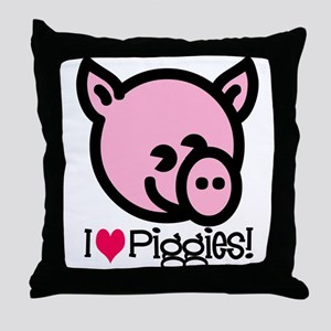 I Love Piggies! Throw Pillow