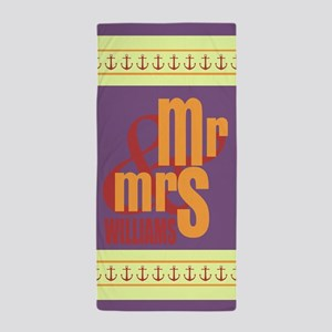 Custom Mr. and Mrs. Wedding Beach Towel