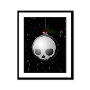 Skull Christmas Ornament Graphic Framed Panel Prin