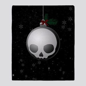 Skull Christmas Ornament Graphic Throw Blanket