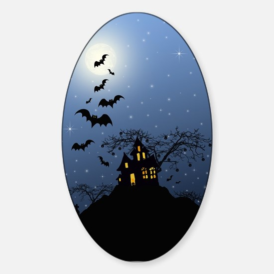 Halloween House Sticker (Oval)