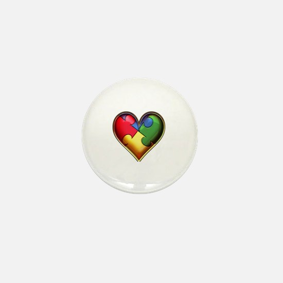 Unique Autism heart Mini Button