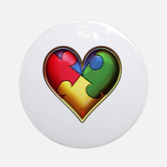 Funny Autism heart Round Ornament
