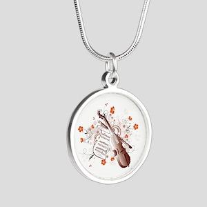 Floral Violin Silver Round Necklace