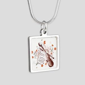 Floral Violin Silver Square Necklace