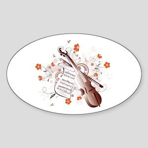 Floral Violin Sticker (Oval)