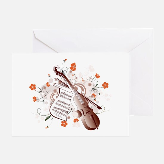 Floral Violin Greeting Card