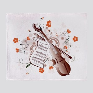 Floral Violin Throw Blanket