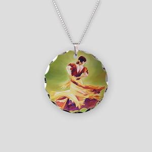 Flamenco Dancer Necklace Circle Charm