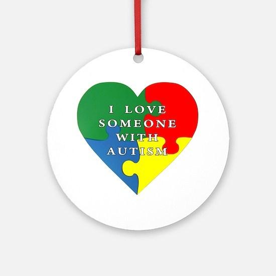 Unique Autism heart Round Ornament