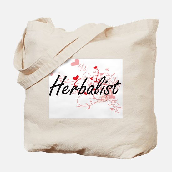 Herbalist Artistic Job Design with Hearts Tote Bag