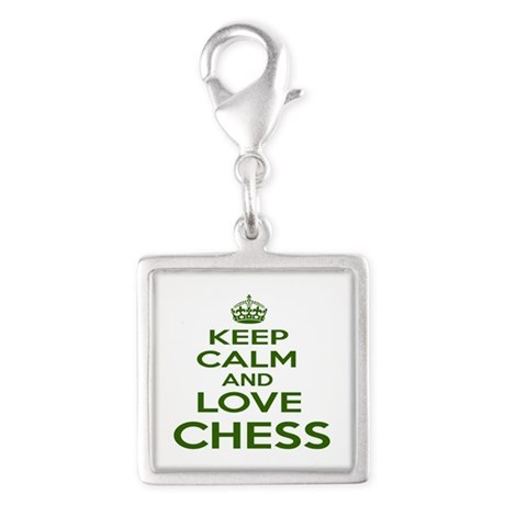 Keep calm and love Chess Silver Square Charm