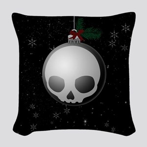 Skull Christmas Ornament Graphic Woven Throw Pillo