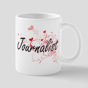 Journalist Artistic Job Design with Hearts Mugs