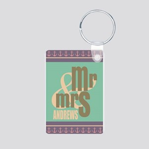 Pastel Mr. and Mrs. Person Aluminum Photo Keychain