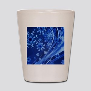 Blue Snowflakes Shot Glass